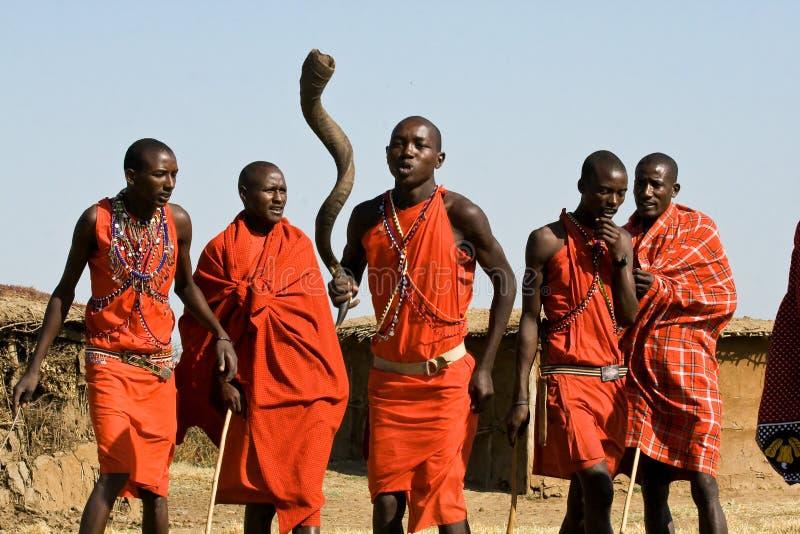De Maasaistrijder voert dans in hun traditionele kleren en juwelen uit royalty-vrije stock foto