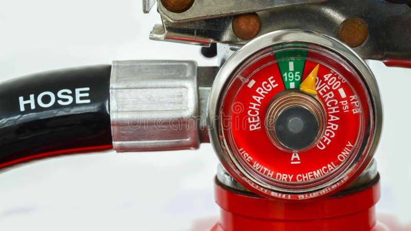 De maat van de close-updruk van brandblusapparaat royalty-vrije stock foto's