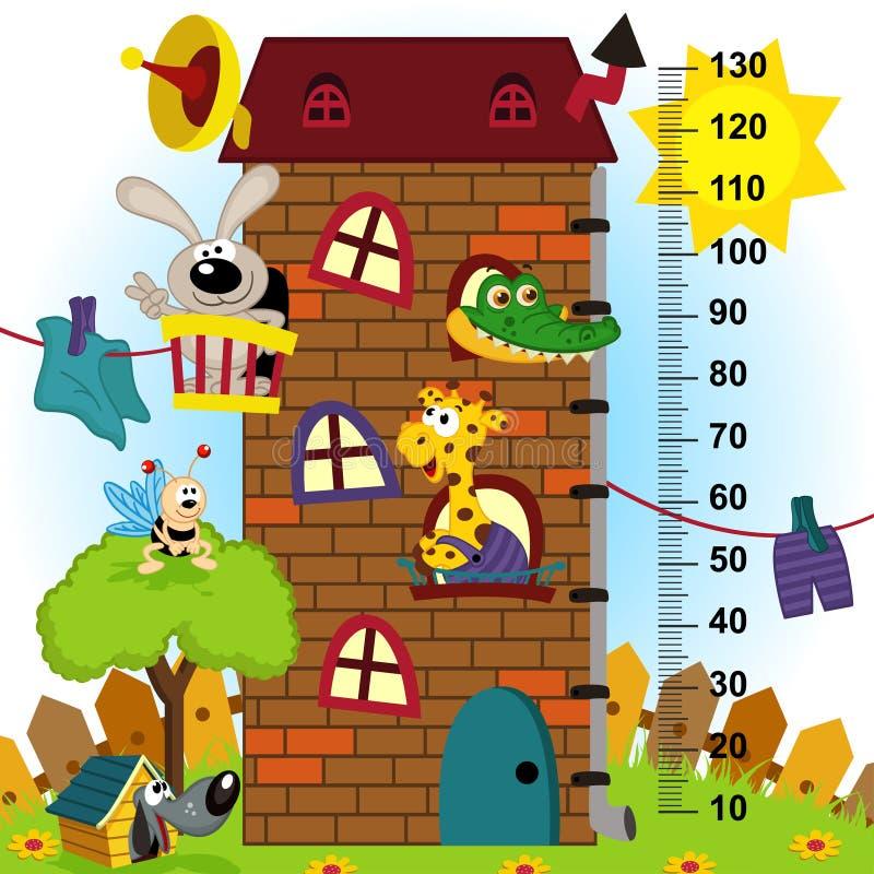 De maatregel van de huishoogte (in origineel aandelen1:4) royalty-vrije illustratie