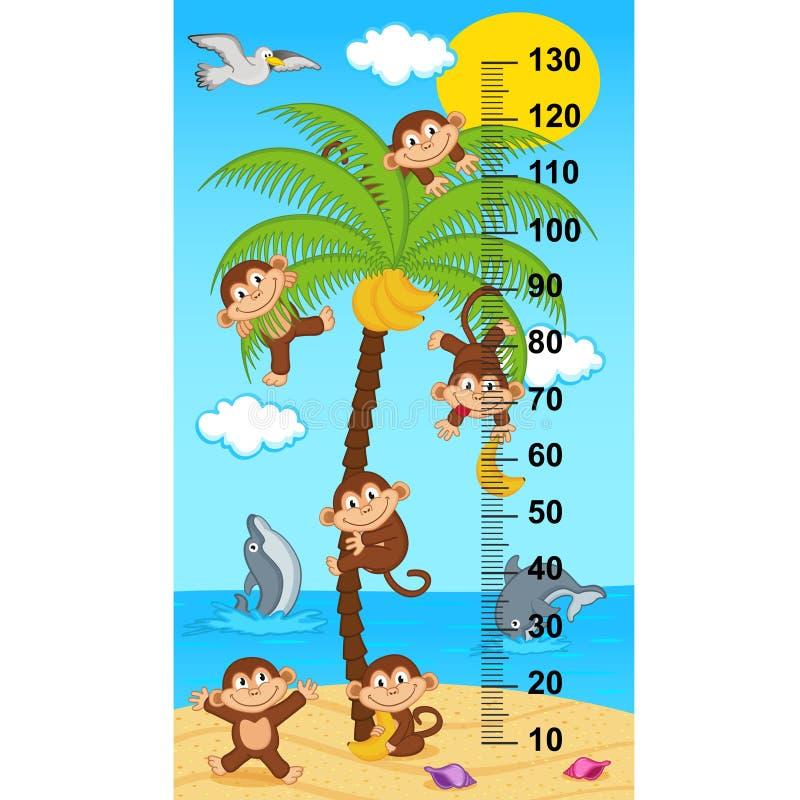 De maatregel van de palmhoogte met apen royalty-vrije illustratie