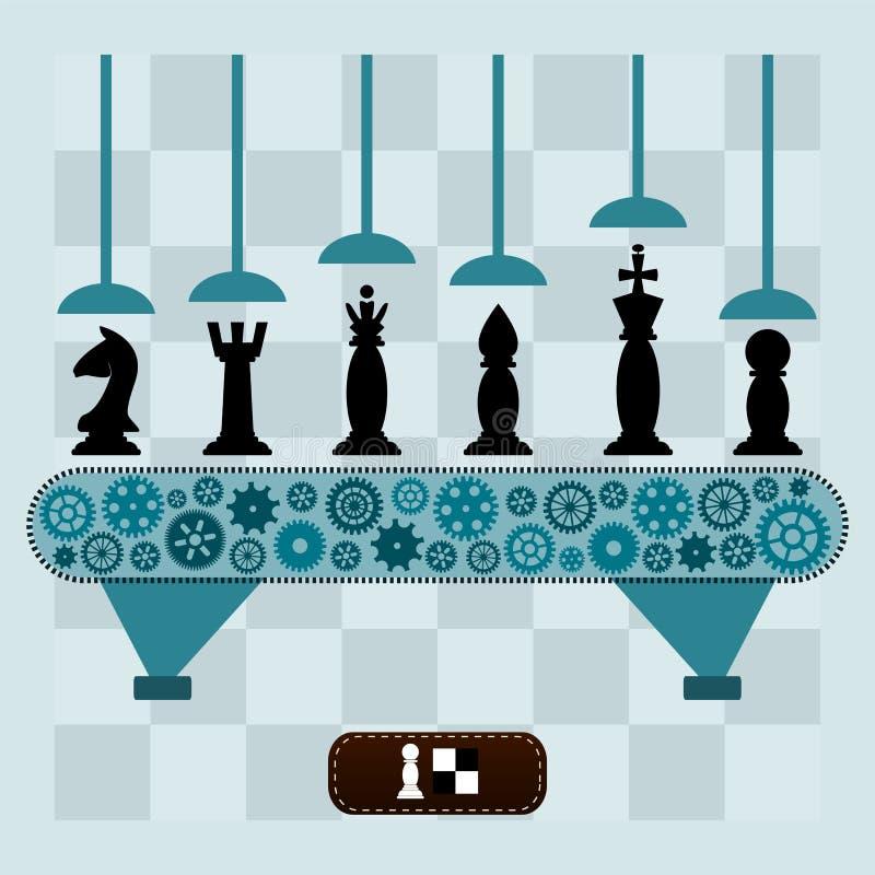De machine maakt de schaakstukken royalty-vrije illustratie