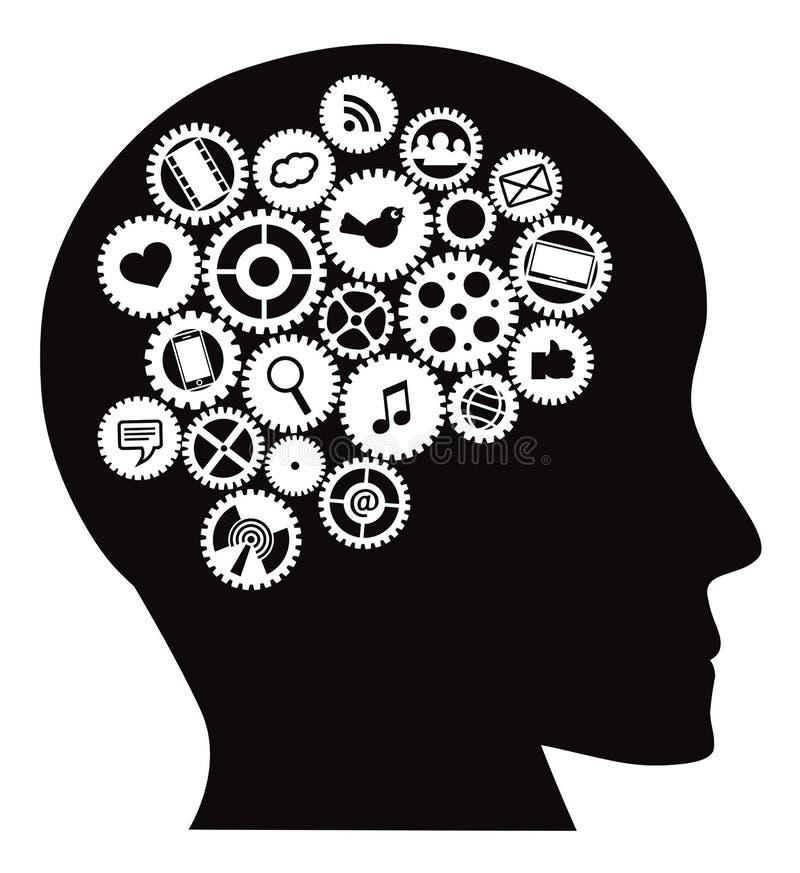 De machine past Menselijk Hoofd met Sociale Media Symbolen aan vector illustratie