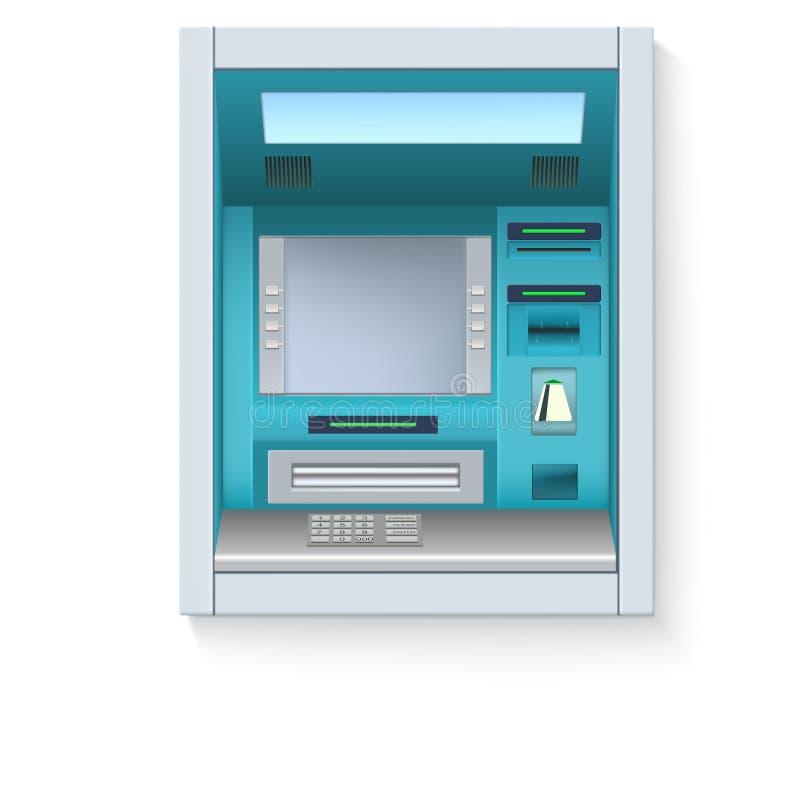 De machine van het bankcontante geld ATM - Geautomatiseerde tellermachine met het lege scherm en zorgvuldig getrokken details op  stock illustratie