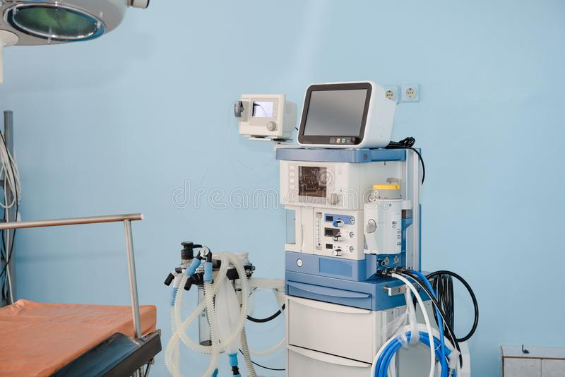 De machine van het verdovingsmiddel Apparaten voor anesthesie Werkende apparaten royalty-vrije stock afbeeldingen