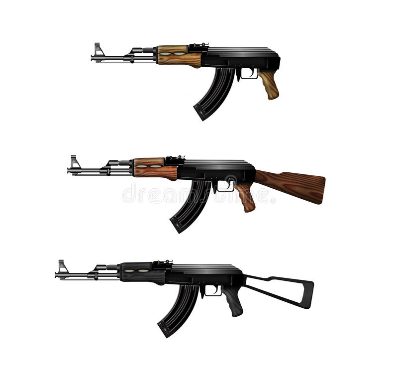 De machinepistolen van de kalashnikov stock illustratie