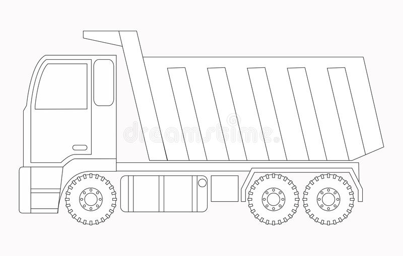 De machines van de bouw Vrachtwagen Kleurende pagina's voor kinderen stock illustratie