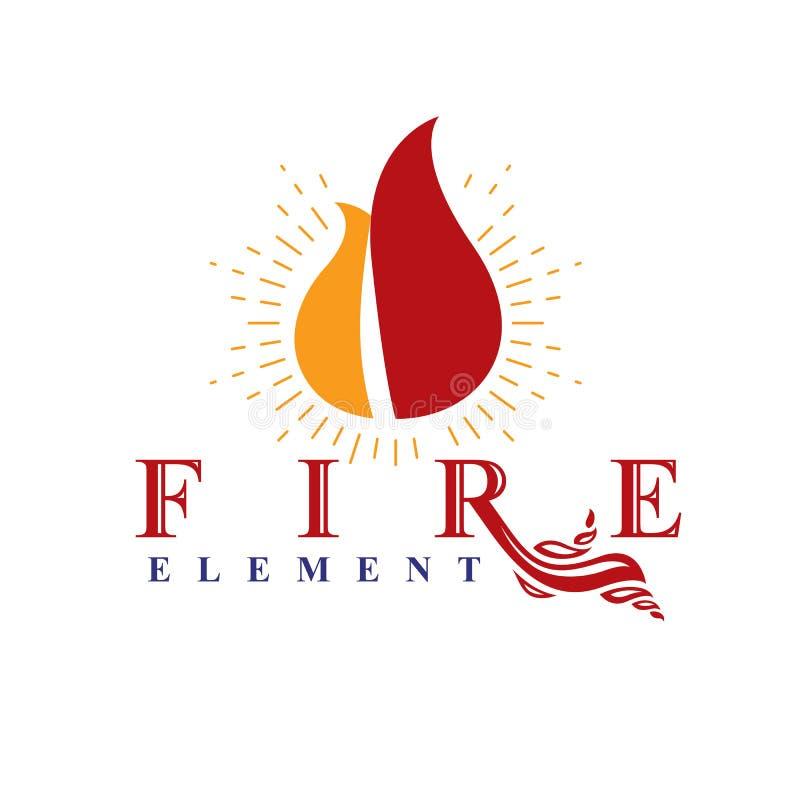 De macht van het branden van vlam, het abstracte vectorembleem van het brandelement stock illustratie