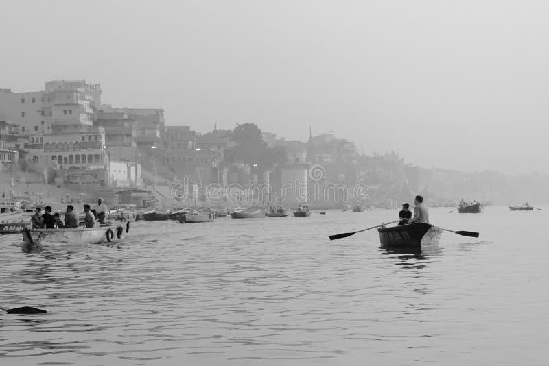 De machtige Ganges in Varanasi royalty-vrije stock foto
