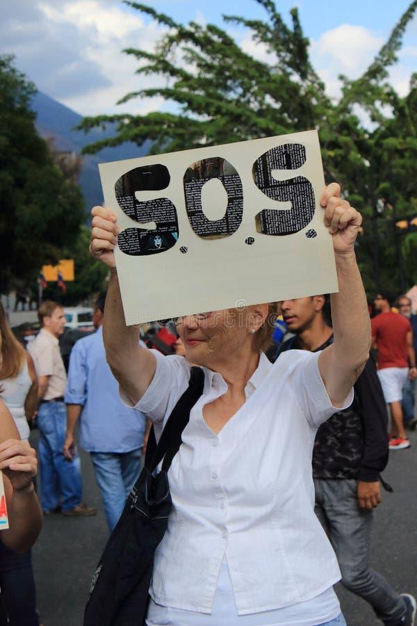 De machtsbesnoeiingen van Venezuela: De protesten breken in Venezuela over elektriciteitspanne uit royalty-vrije stock afbeelding