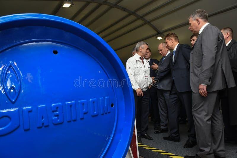 De Machtsmachines ` van PJSC ` Voorzitter van de Raad van bestuur van PJSC Gazprom A molenaar stock fotografie