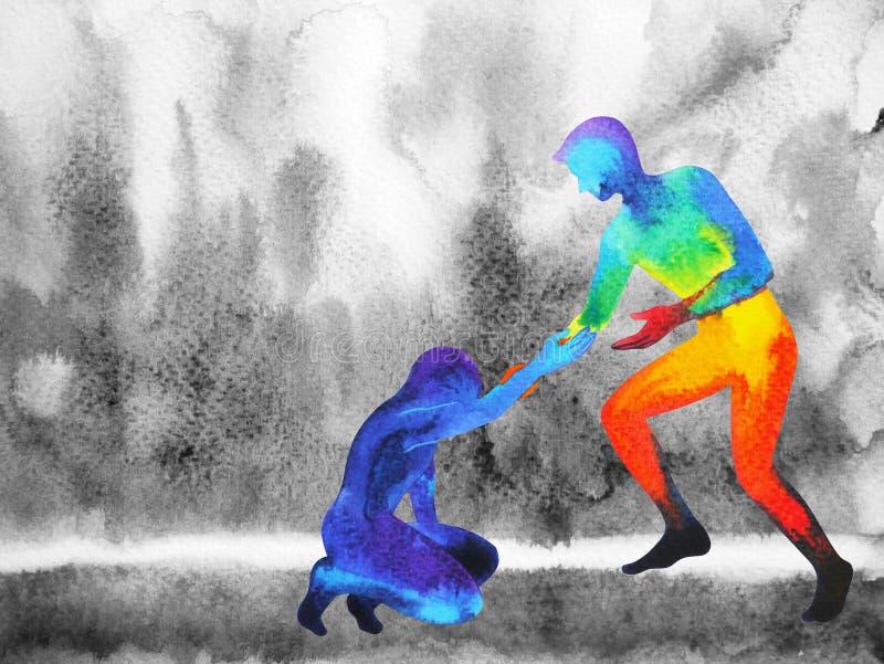 De machtsmens geeft handhulp de droevige mens, krachtig liefdeheelal stock illustratie