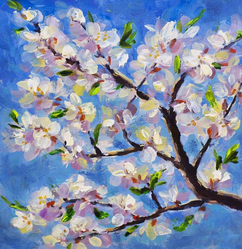 De macro bloeiende tak van de close-uplente van een abrikozenboom op achtergrond van blauwe hemel Het olieverfschilderij Witte bl royalty-vrije illustratie