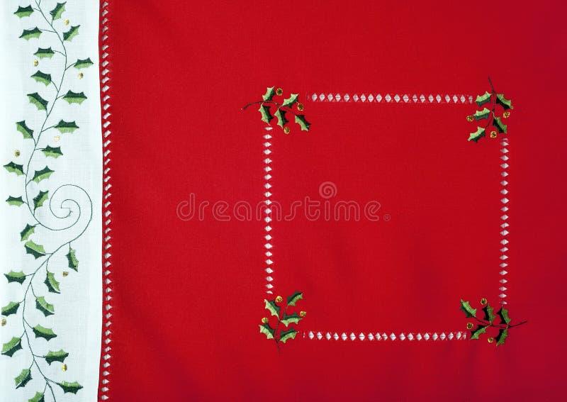De Macro Van Het Het Tafelkleedfragment Van Kerstmis Royalty-vrije Stock Afbeelding