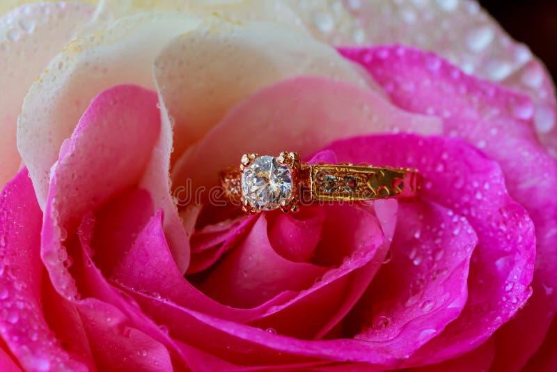 De macroclose-up nam met dauwdalingen en mooie fonkelende diamantring toe royalty-vrije stock afbeelding