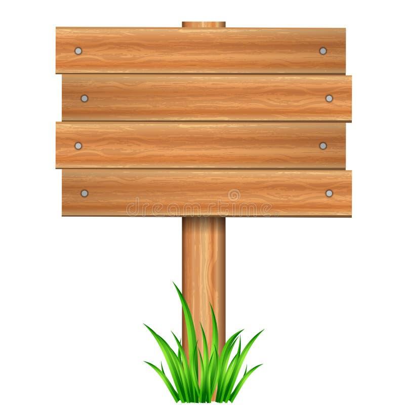 De madeira assine dentro a grama ilustração royalty free