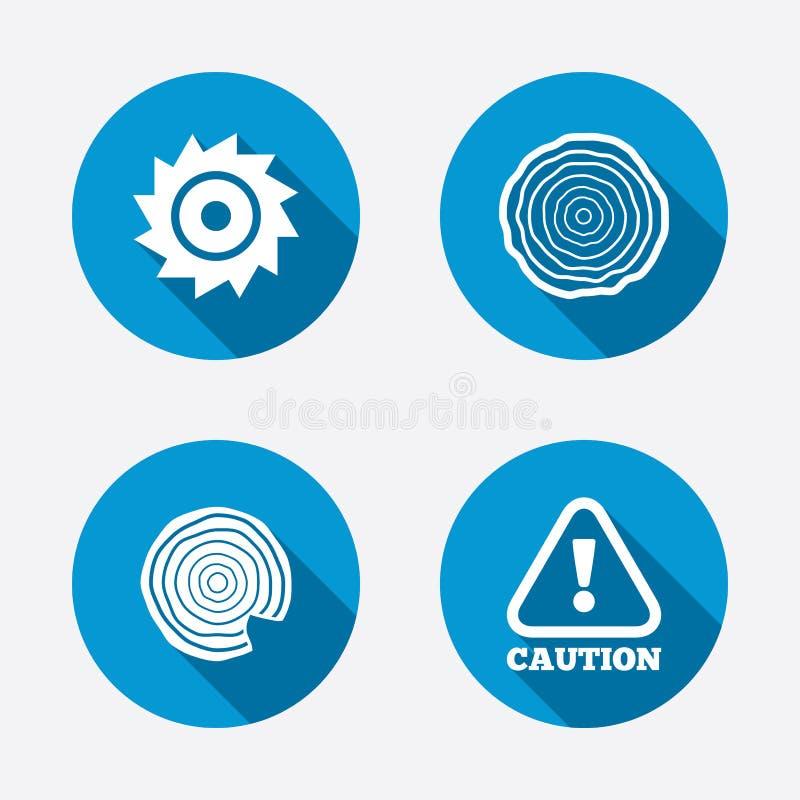 De madeira e viu ícones circulares da roda atenção ilustração stock