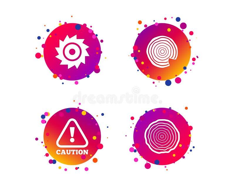 De madeira e viu ícones circulares da roda atenção Vetor ilustração do vetor