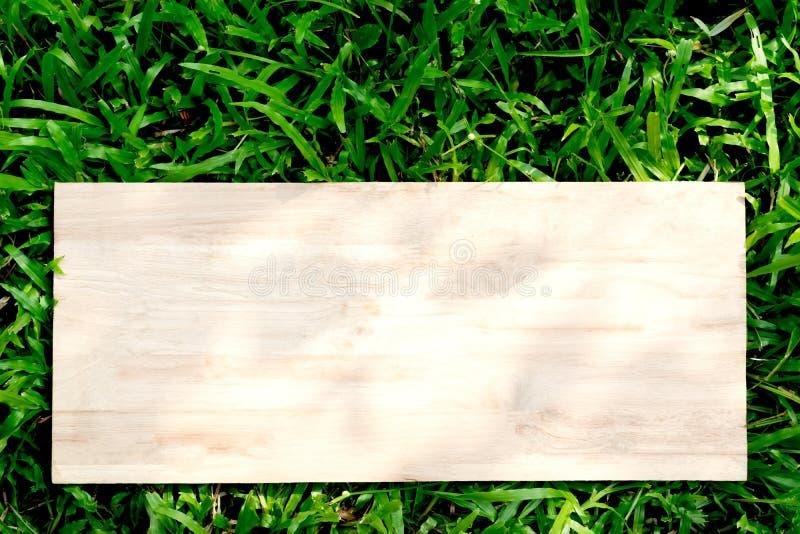 De madeira na grama verde com a ampola sobre para o texto ou o adverti fotografia de stock royalty free