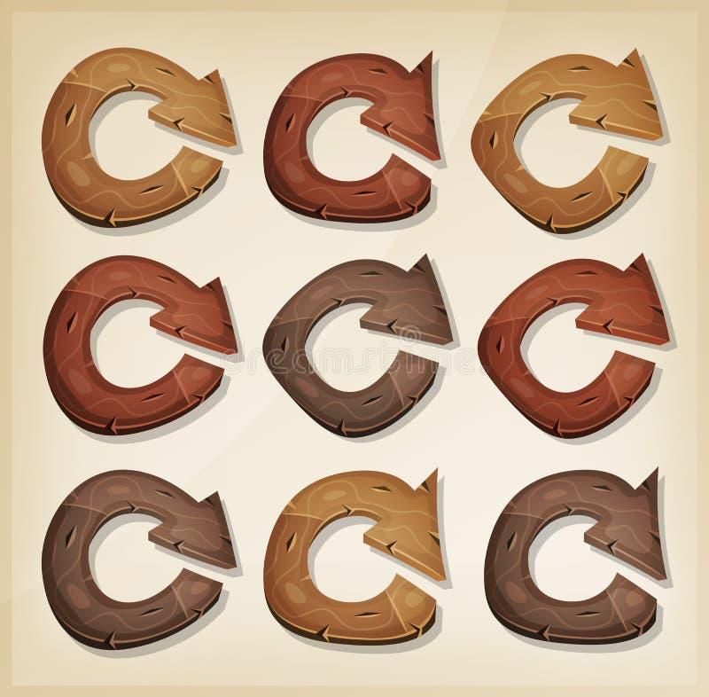De madeira refresque ícones das setas para o jogo de Ui ilustração royalty free