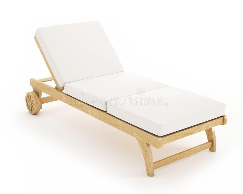 De madeira sunbed com os descansos isolados no fundo branco ilustração do vetor