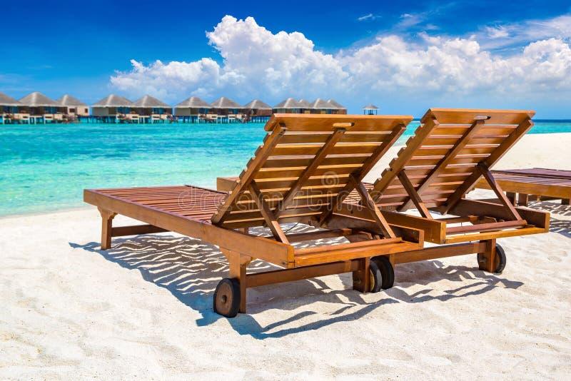 De madeira sunbed em Maldivas imagem de stock