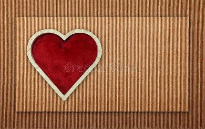 De madeira vermelho do coração dado forma no cartão ilustração stock