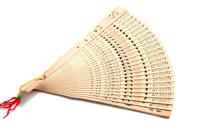 De madera talle la fan plegable de la mano del estilo chino en blanco fotografía de archivo libre de regalías