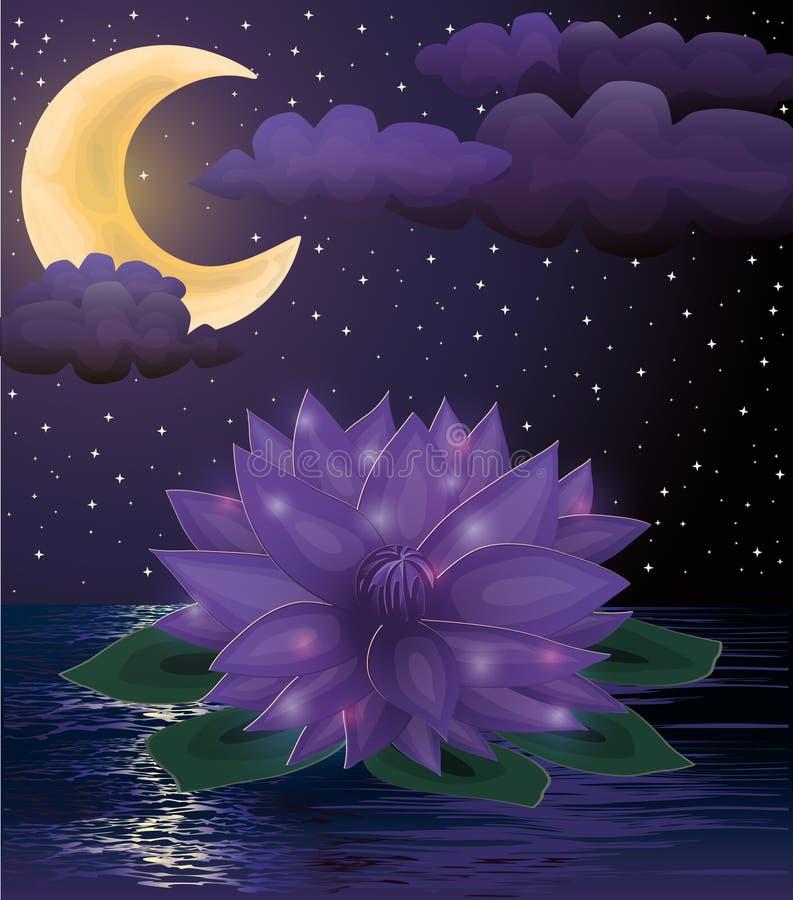 De magische achtergrond van de lotusbloembloem vector illustratie