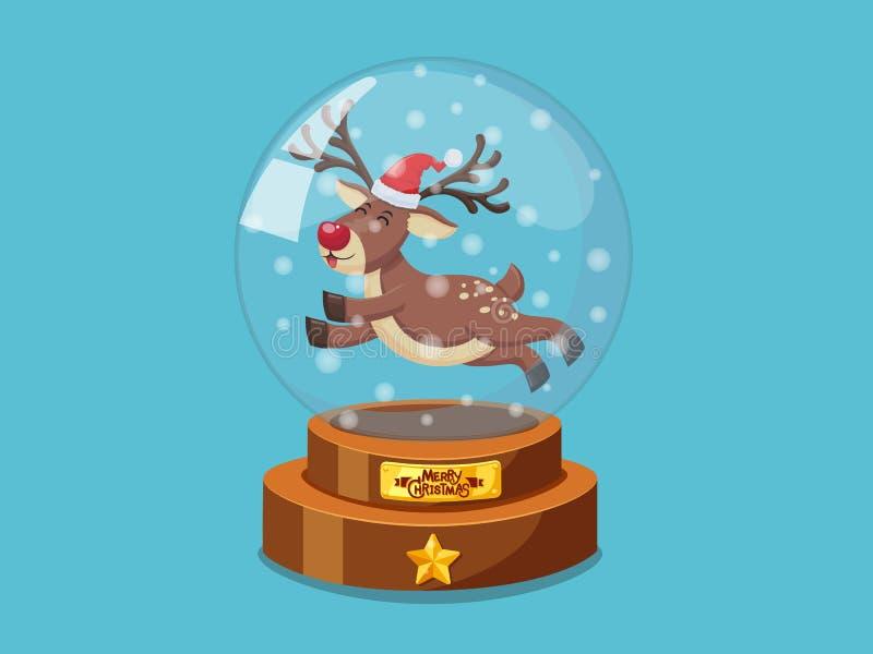 De magische bal van het Kerstmisglas met Weinig rendier vectorbeeld Vrolijke Kerstmis en Gelukkig Nieuwjaar decoratief element op royalty-vrije illustratie