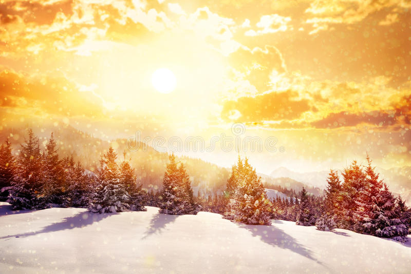De magische bergen van de winter stock foto