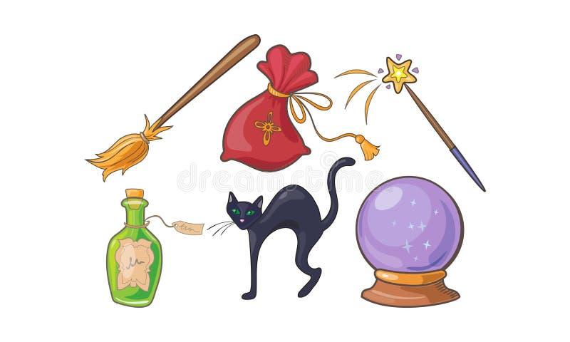 De magische en werktijdtekens plaatsen, Halloween-vakantie magische elementen, kristallen bol, bezem, drankjefles, zwarte kattenv royalty-vrije illustratie