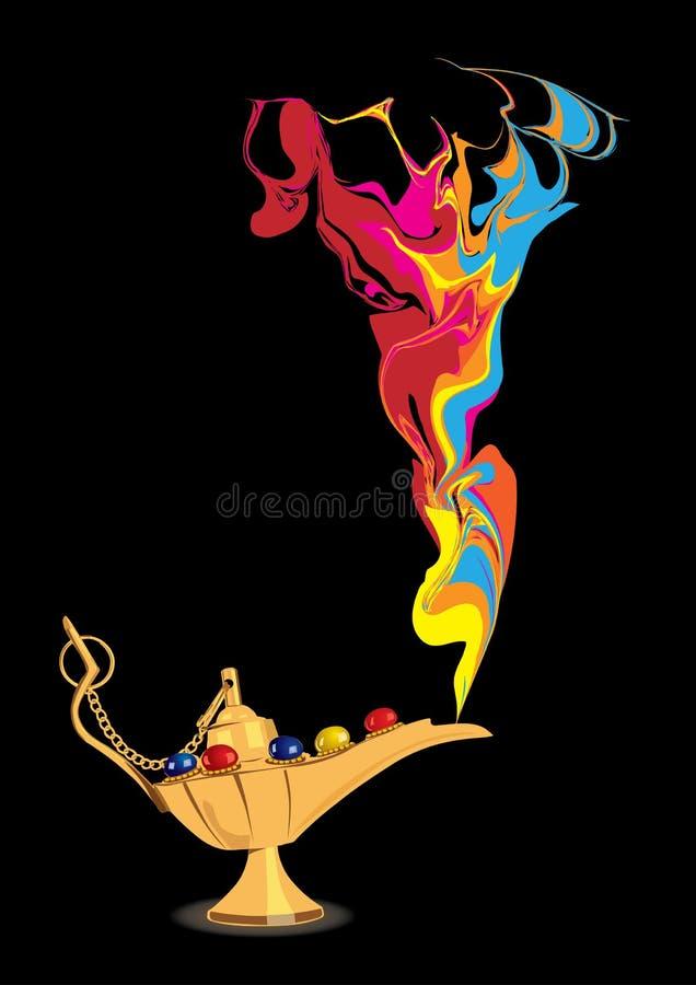 De magische lamp van Aladdin met abstract geniecijfer royalty-vrije illustratie