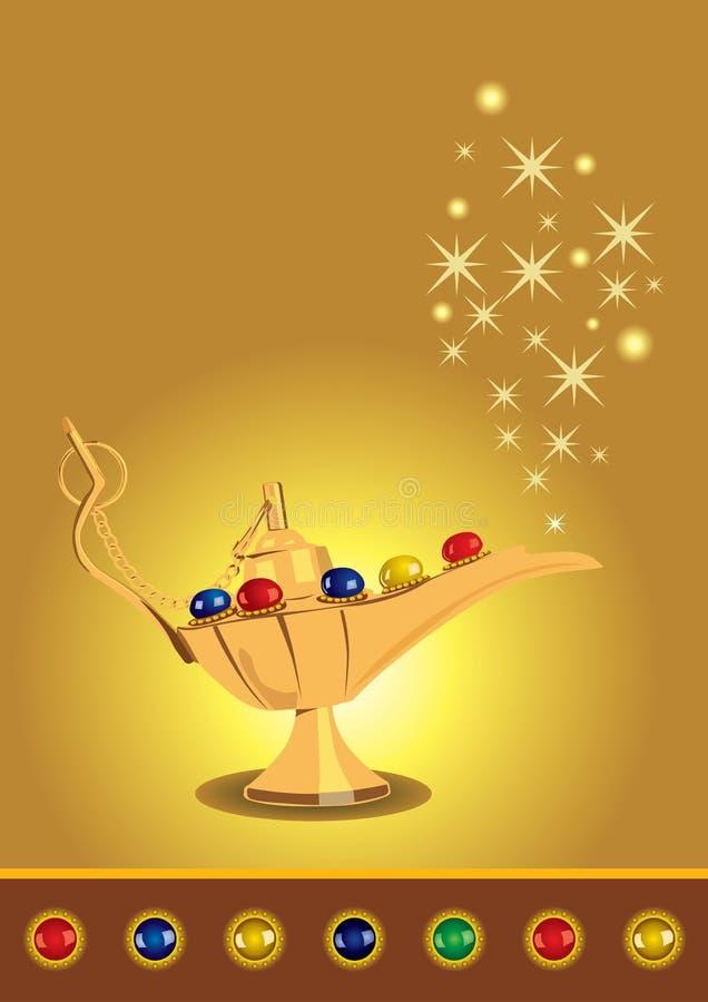 De magische lamp van Aladdin met parels vector illustratie