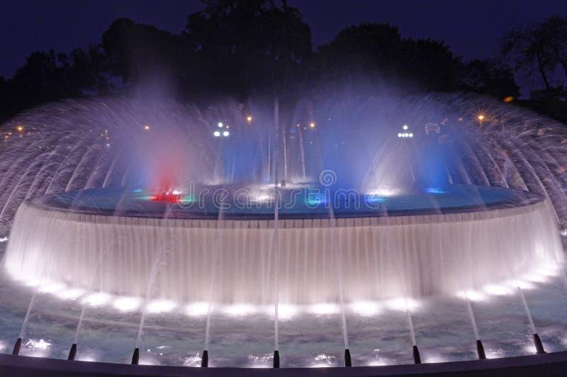 De magische scène van de Nacht van het Park van het Water stock foto's