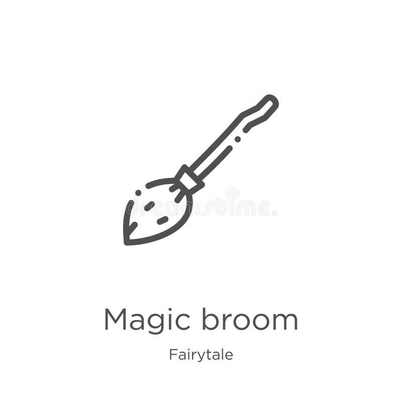 de magische vector van het bezempictogram van fairytaleinzameling De dunne van het het overzichtspictogram van de lijn magische b vector illustratie