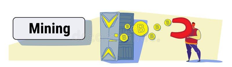 De magneet die van de mensenholding bitcoin muntstukken van crypto van de de serverruimte van het mijnbouwlandbouwbedrijf muntcon vector illustratie