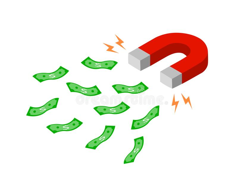 De magneet trekt geld naar zich aan vector illustratie