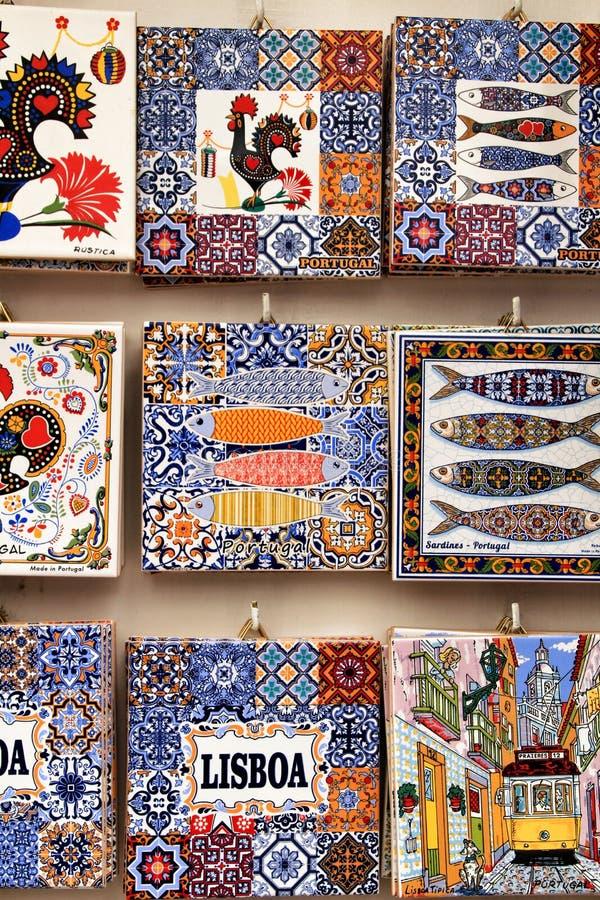 De magneten die van de koelkastherinnering Portugese tegels imiteren royalty-vrije stock afbeelding