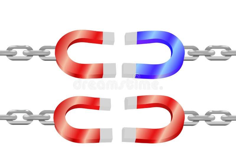 De magneten op kettingen trekken het symbool van de machtsenergie aan royalty-vrije illustratie