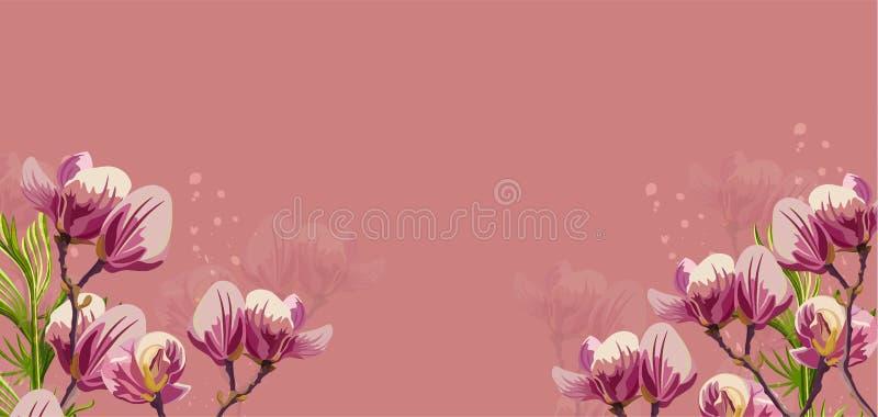 De magnolia bloeit Vector op roze achtergrond Mooie kaartmalplaatjes vector illustratie