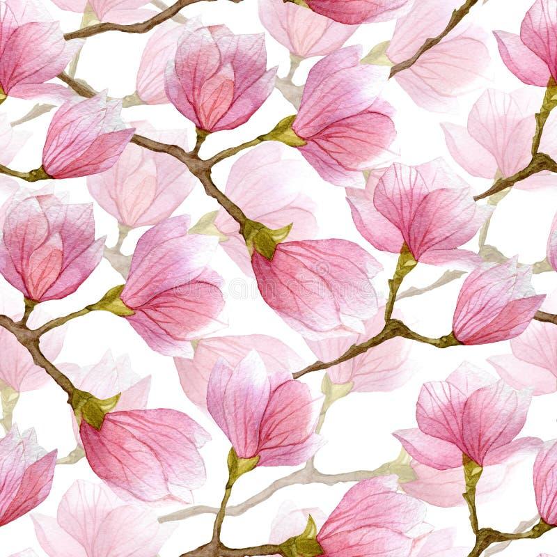 De magnolia naadloos patroon van de de lentewaterverf Hand getrokken ontwerp voor textiel, druk, verpakkend document vector illustratie