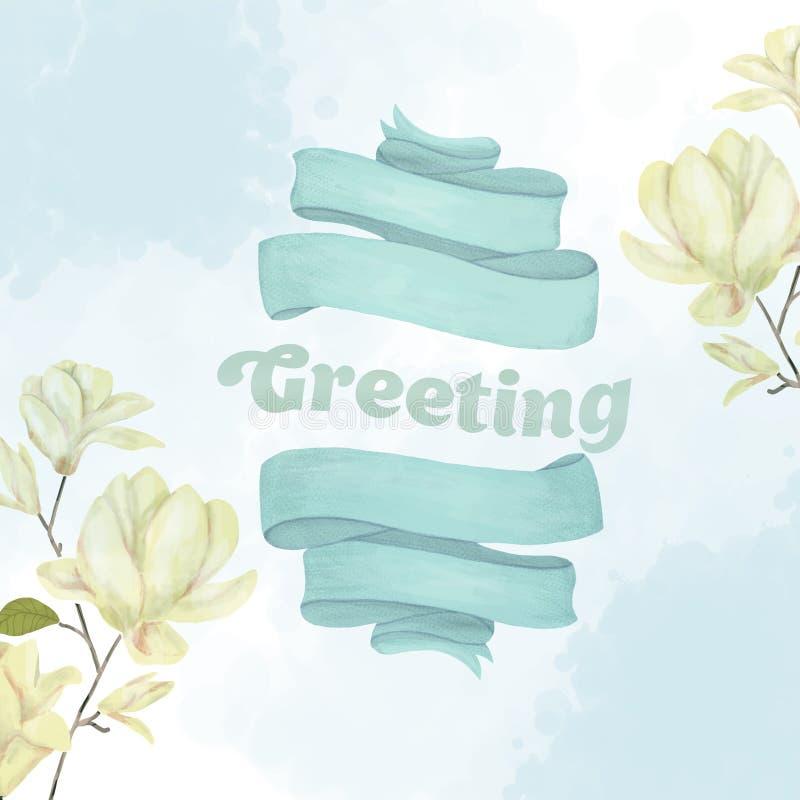 De magnolia van de Greetinigtekst bloeit en lint wiedend kunst trekkend magisch van de de verjaardagskaart van de illustratiefant royalty-vrije illustratie