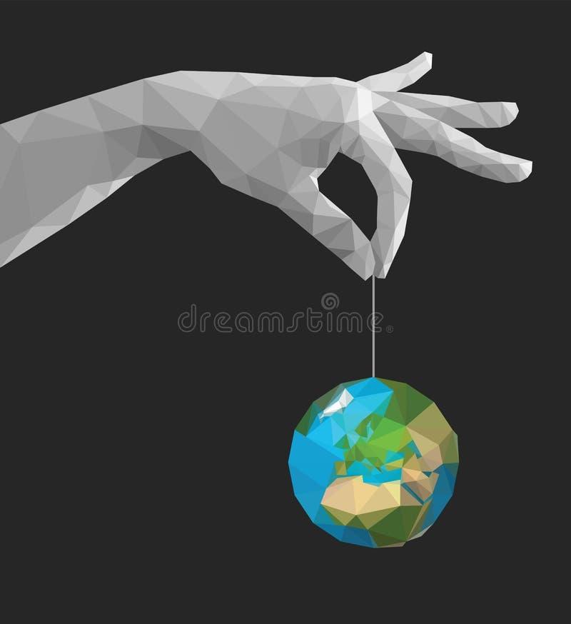 De main de pincement de doigts la terre monochrome polygonale Afrique ensemble illustration libre de droits