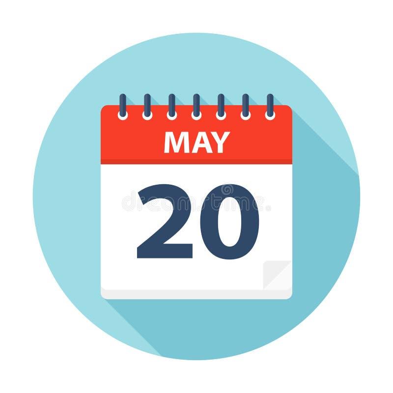 20 de maio - ícone do calendário ilustração royalty free