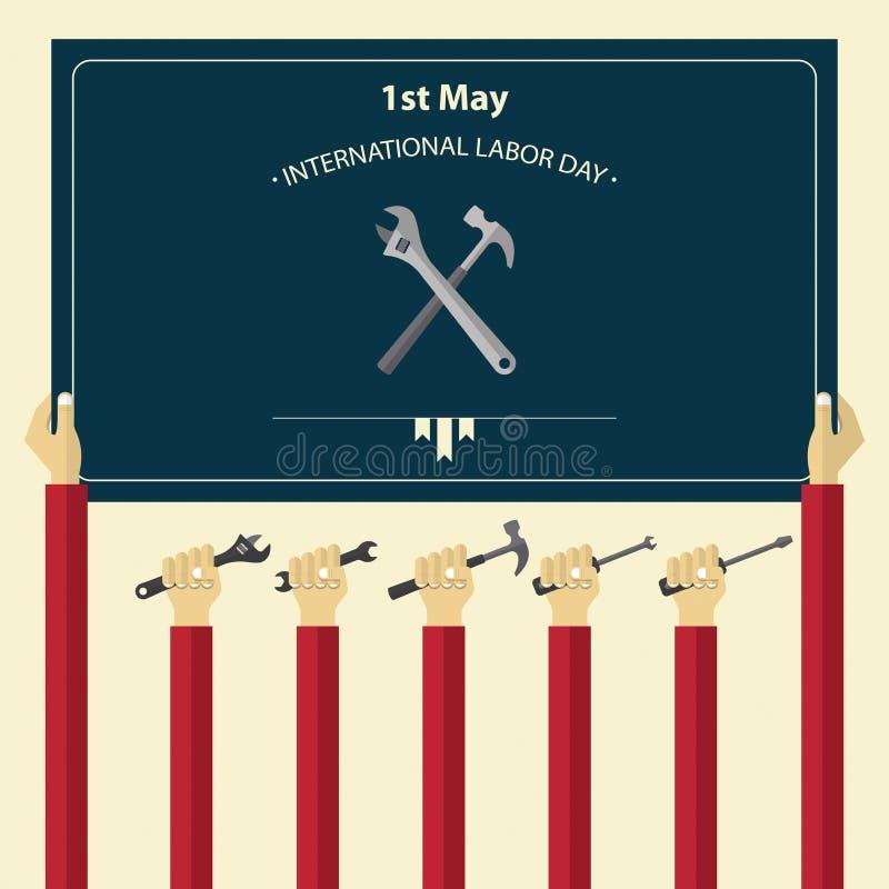 1º de maio cartaz internacional do Dia do Trabalhador Ferramentas de terra arrendada da mão do trabalhador ilustração stock