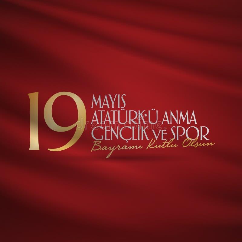 19 de maio comemora??o do dia de Ataturk, de juventude e de esportes Quadro de avisos, cartaz, meio social, molde do cart?o Turco ilustração royalty free