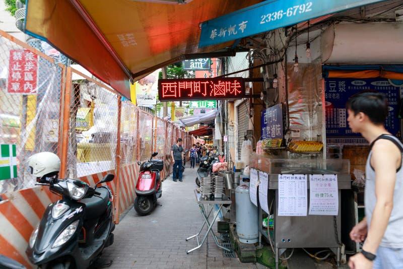 24 de maio de 2017 a vista da rua da compra de Ximending em Taipei, Ta imagens de stock