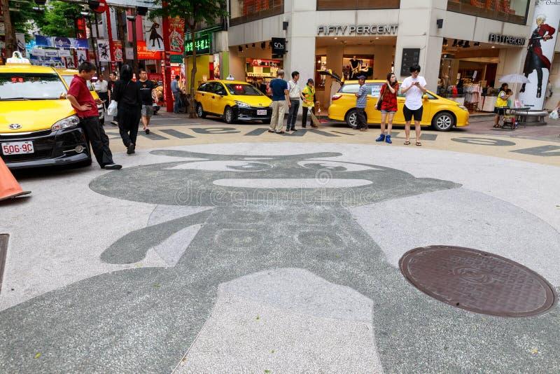 24 de maio de 2017 a vista da rua da compra de Ximending em Taipei, Ta fotografia de stock