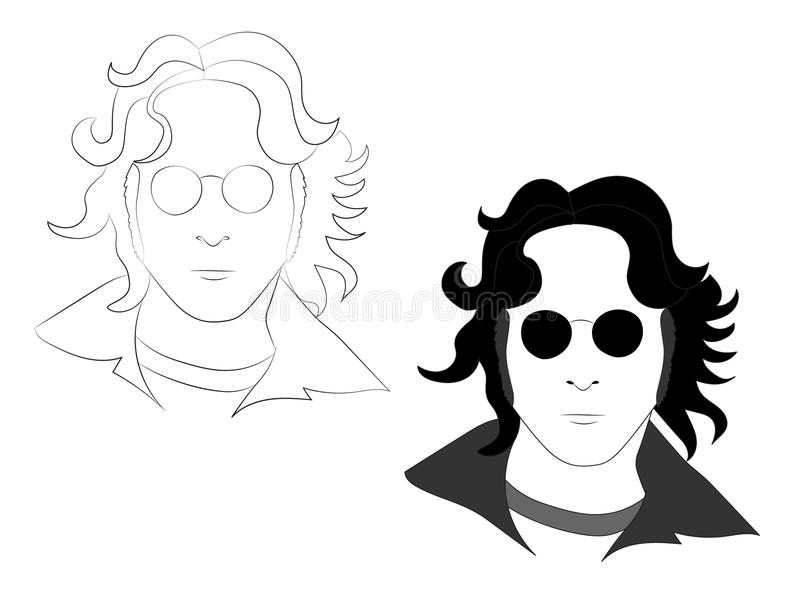 25 DE MAIO DE 2018 Entregue a ilustração tirada de John Lennon, uso editorial ilustração royalty free
