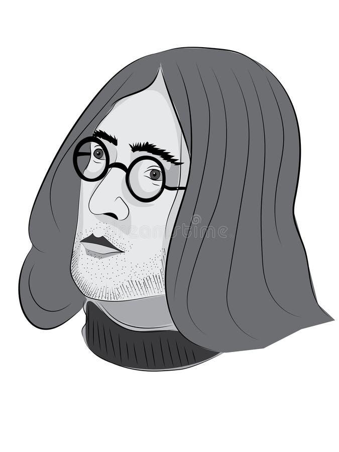 31 DE MAIO DE 2018 Entregue o esboço colorido tirado de John Lennon, uso editorial ilustração stock